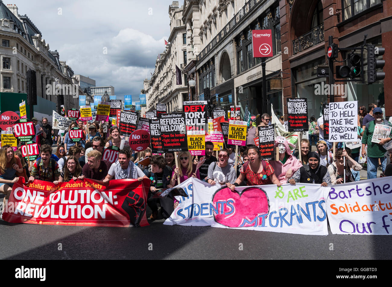 One Solution: Revolution, No More Austerity - No To Racism - Tories Must Go, demonstration organised by Peoples - Stock Image
