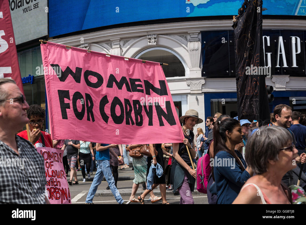 Women for Corbyn, No More Austerity - No To Racism - Tories Must Go, demonstration organised by Peoples Assembly, - Stock Image