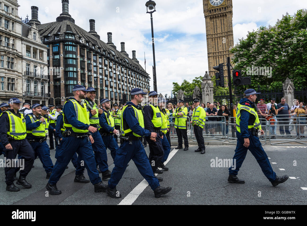 Riot Police, No More Austerity - No To Racism - Tories Must G, demonstration, July 16th 2016, London, United Kingdom, - Stock Image