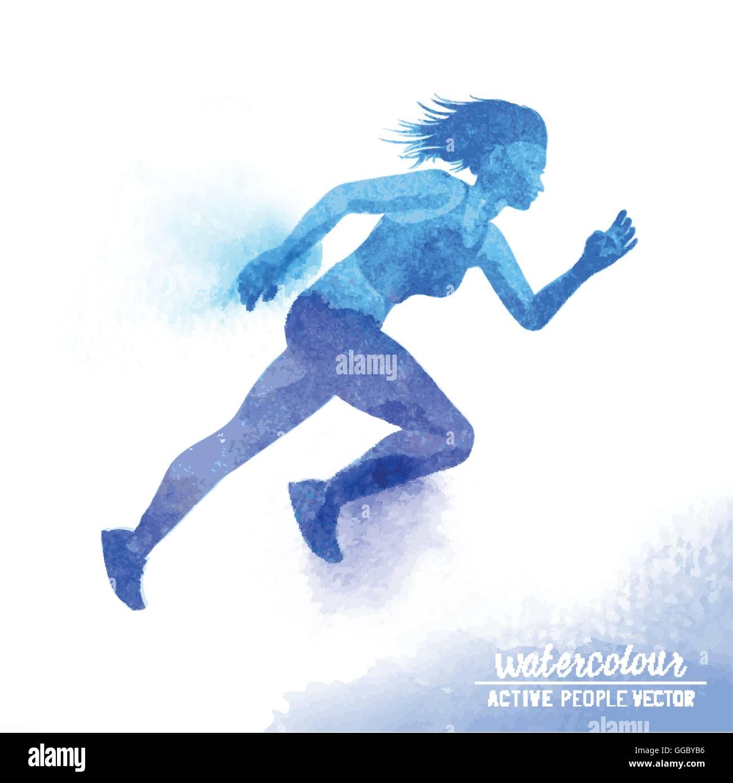 A young active woman running - Watercolour vector illustration. - Stock Vector