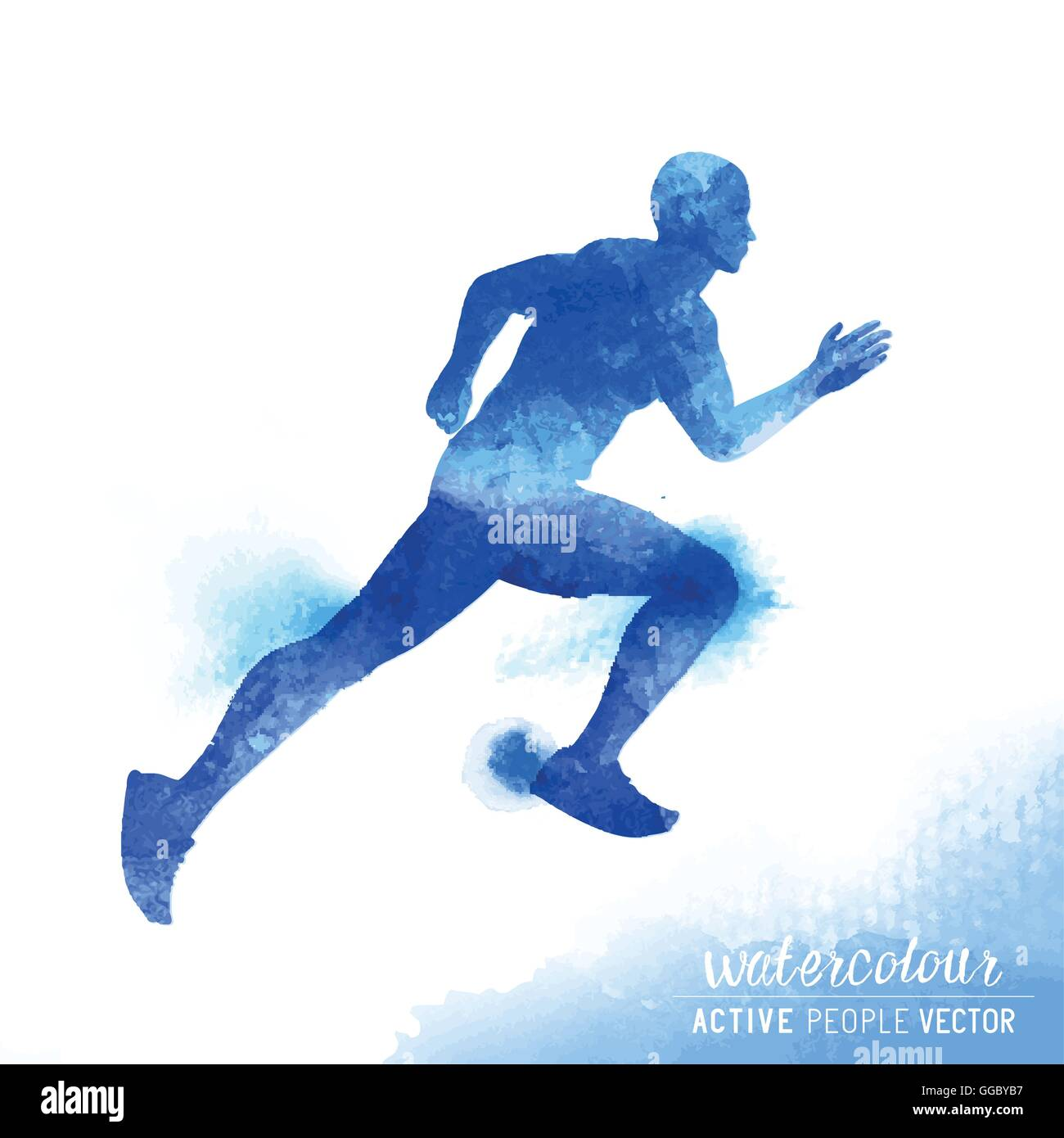 A young active man running and training- Watercolour vector illustration. Stock Vector