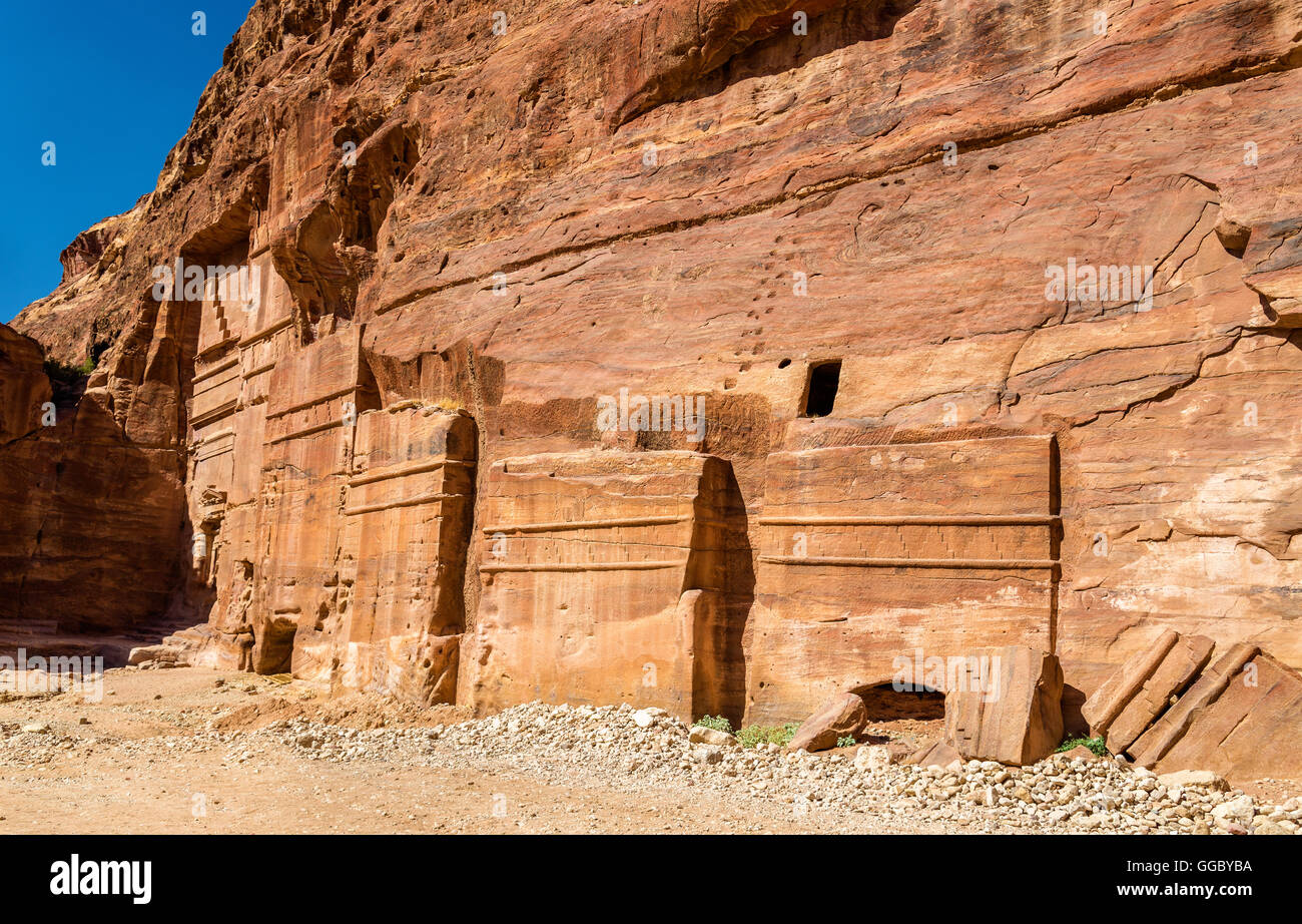 Street of Facades at Petra. UNESCO Heritage Site in Jordan - Stock Image