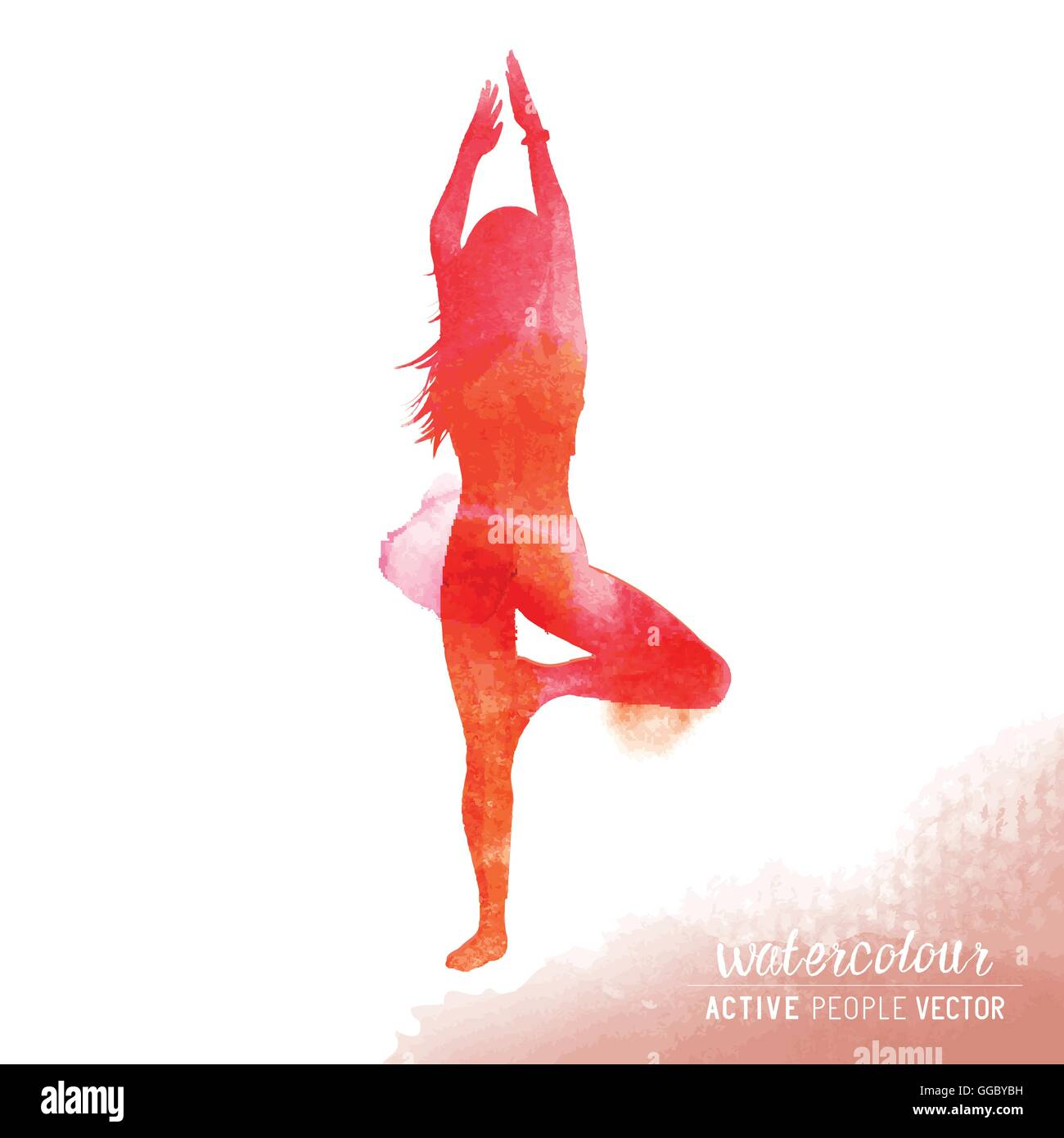 A young lady in a yoga position exercising - Watercolour vector illustration - Stock Vector