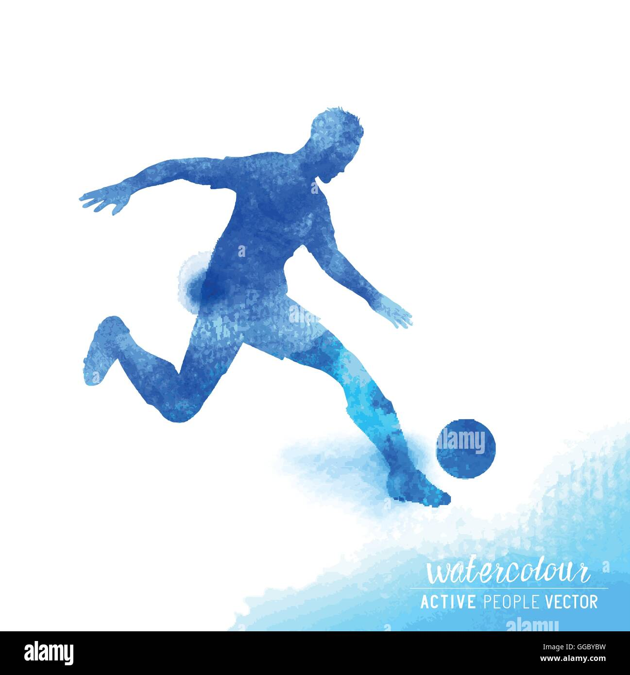 Professional Football player about to strike the ball - watercolour vector illustration. - Stock Image