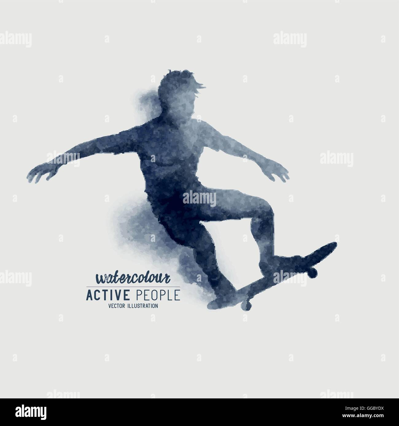 A Skater riding a skateboard. Watercolour vector illustration. - Stock Vector