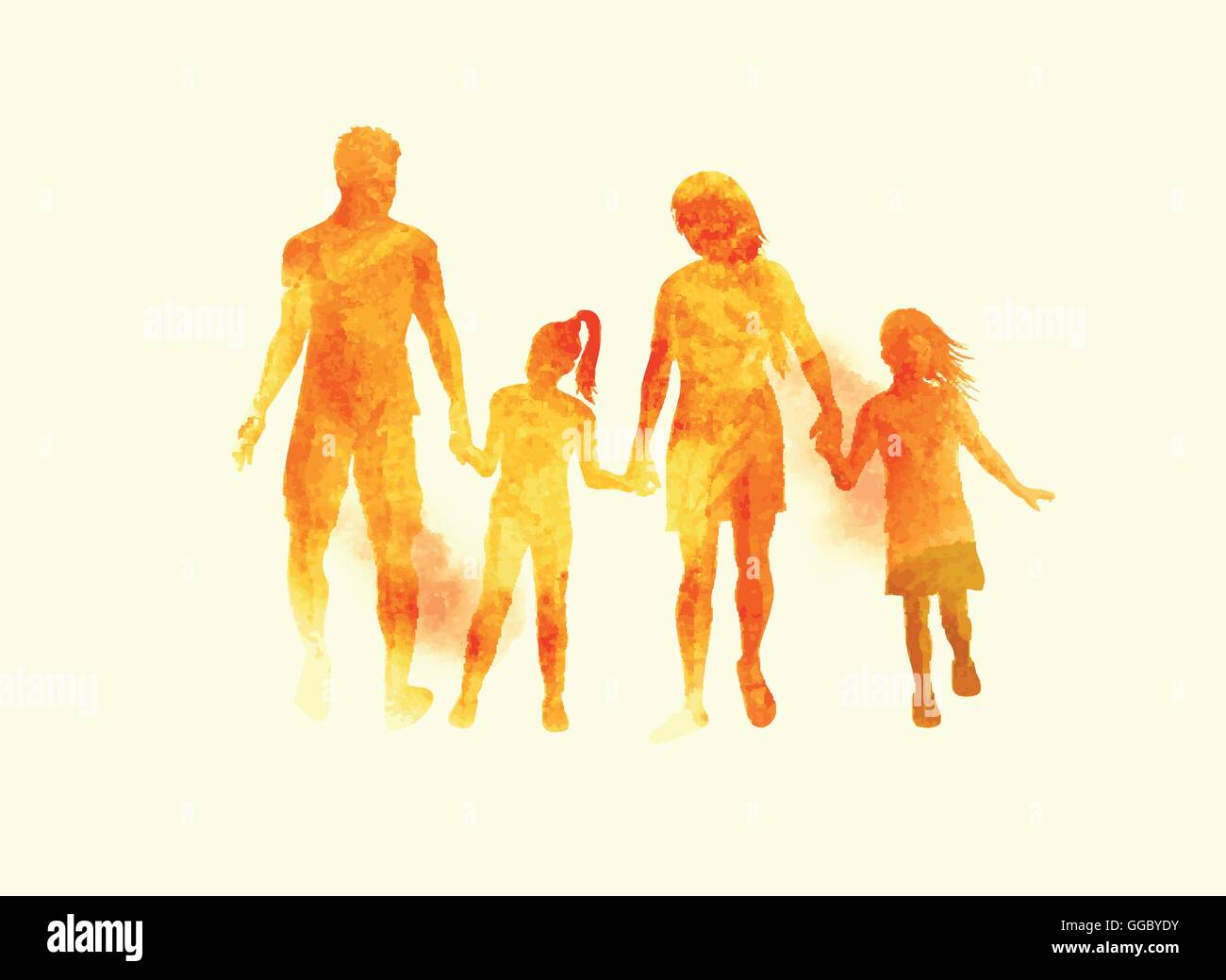 A young happy family walking together. Watercolour vector illustration. - Stock Vector