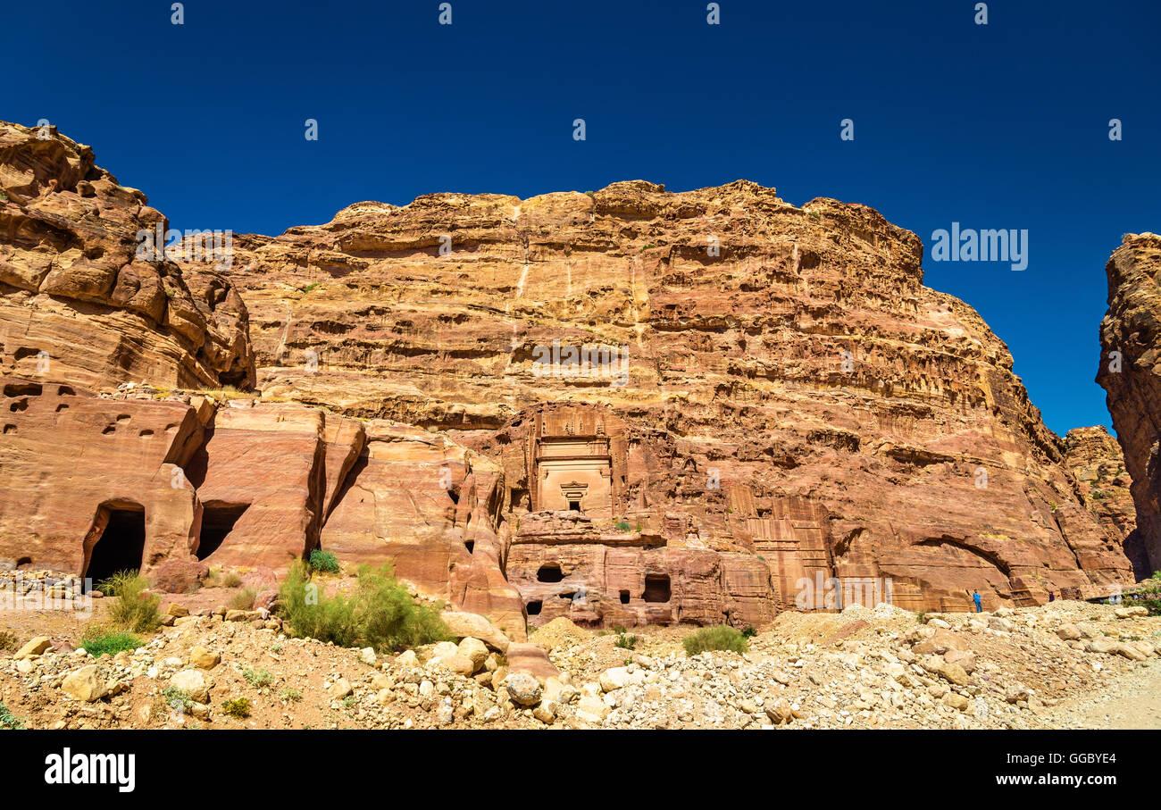 Aneisho Tomb at Petra. UNESCO Heritage Site in Jordan - Stock Image