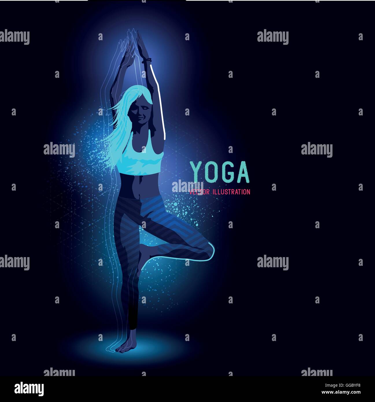 Neon glowing backlit silhouette of a young lady in a yoga position exercising - vector illustration - Stock Vector