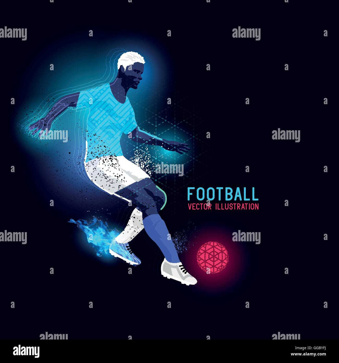Neon glowing backlit silhouette of a football player - vector illustration - Stock Image