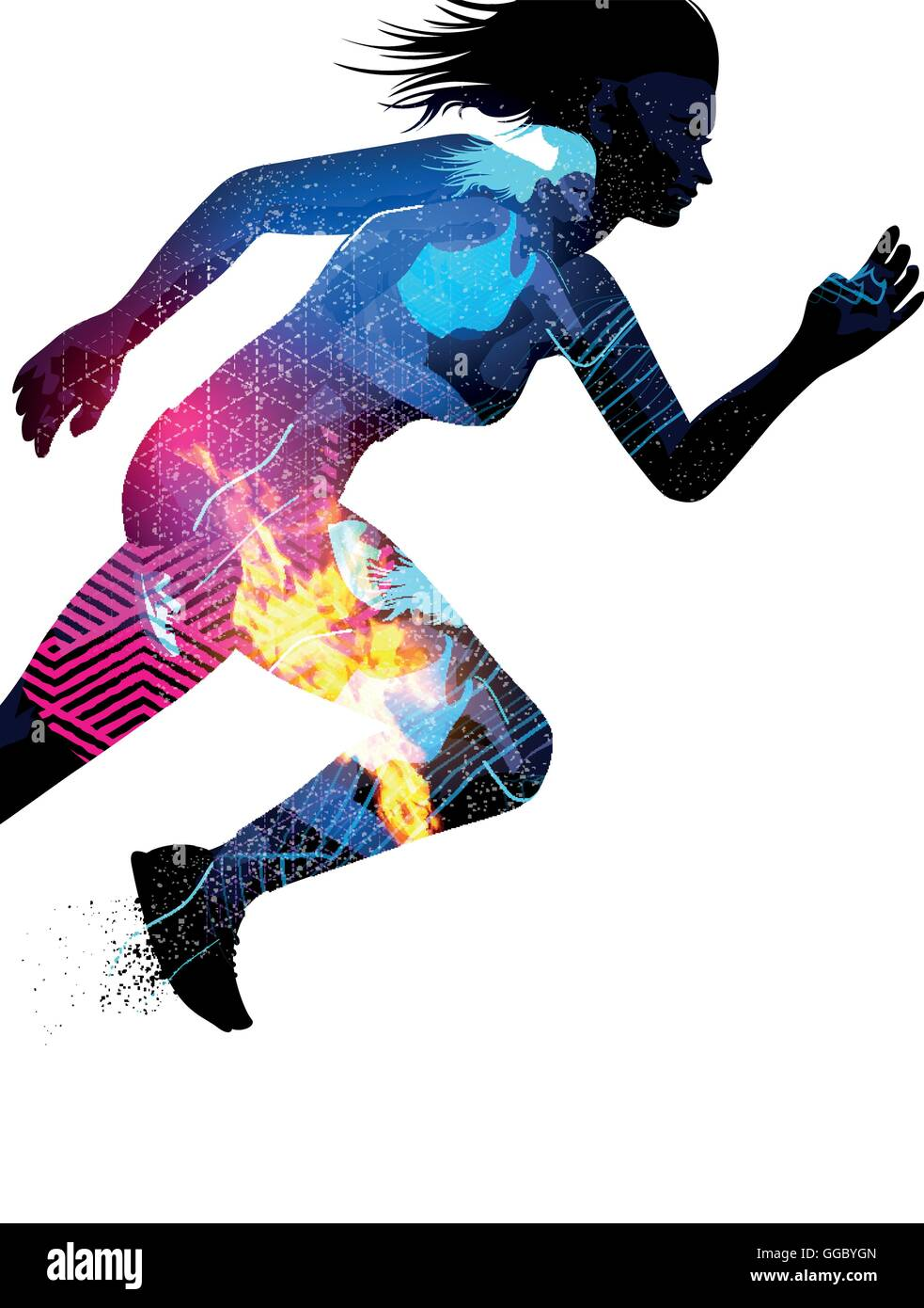 Double exposure effect vector illustration of a running sports woman with texture effects. - Stock Image