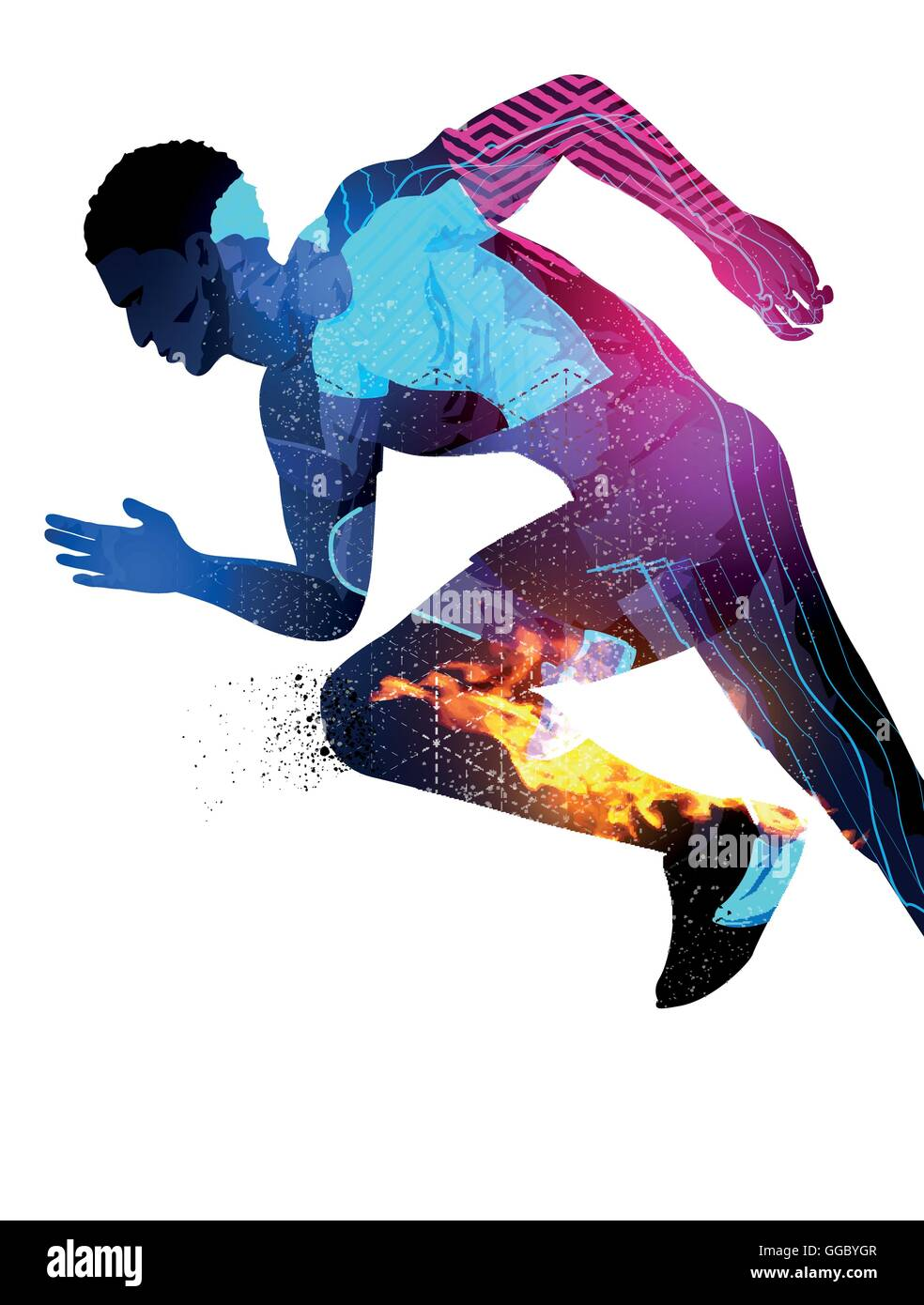 Double exposure effect vector illustration of a running sports man with texture effects. - Stock Image
