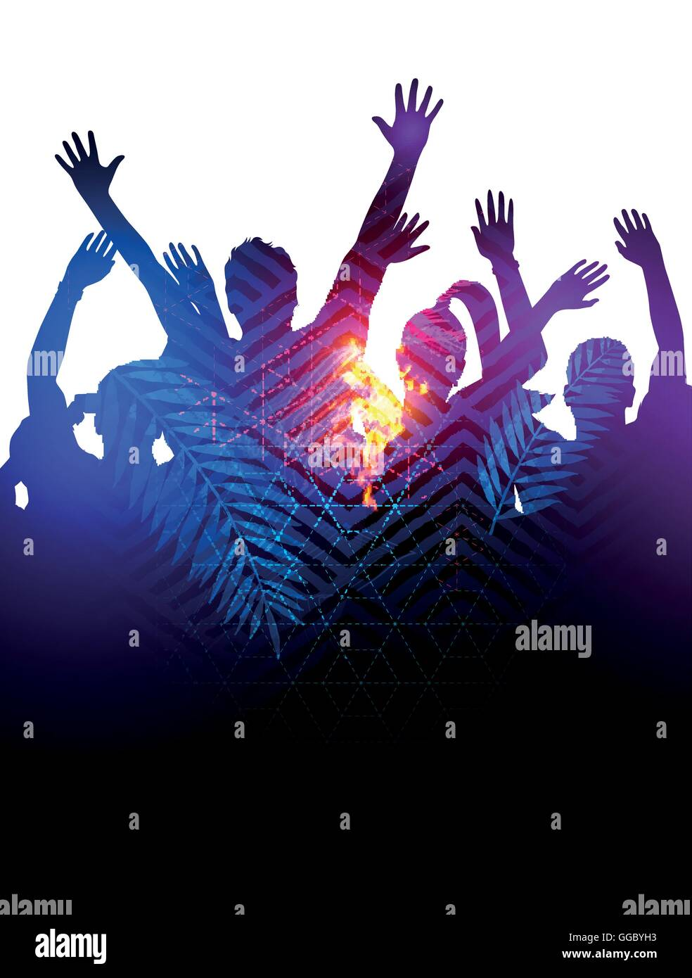 Double Exposure effect vector illustration of a huge crowd of young people dancing at a festival. - Stock Image
