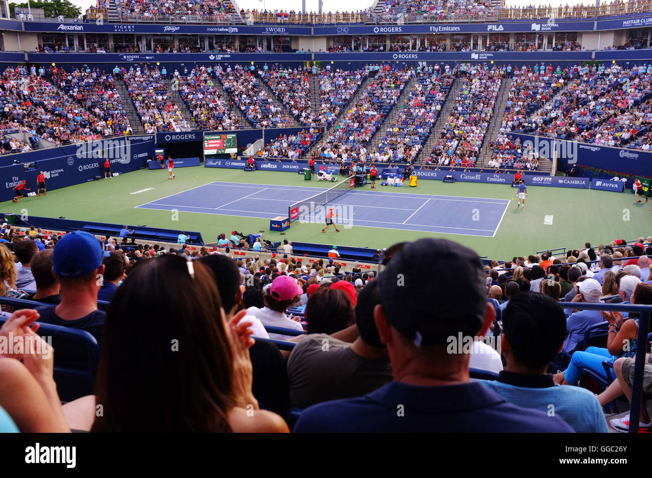 Tennis fans watching men play at the 2016 Rogers Cup qt the Aviva Centre in Toronto. - Stock Image