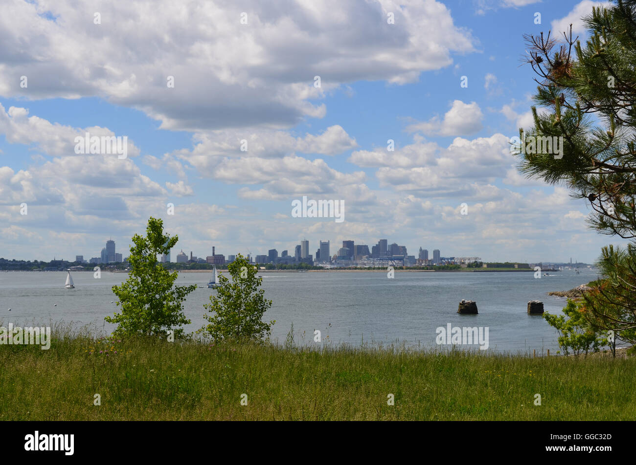 Gorgeous views of the City of Boston from the harbor islands. - Stock Image
