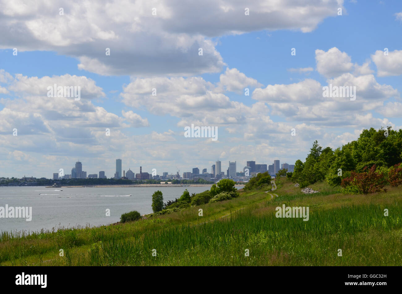 Gorgeous city views from the Boston Harbor Islands. - Stock Image