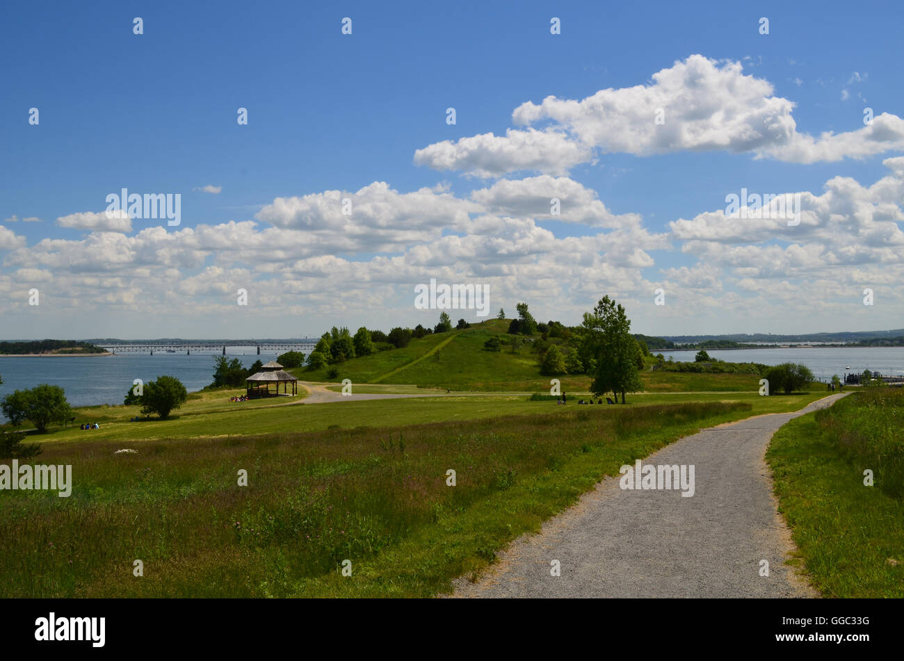 Perfect day on the hiking trail on Spectacle Island in Boston. - Stock Image