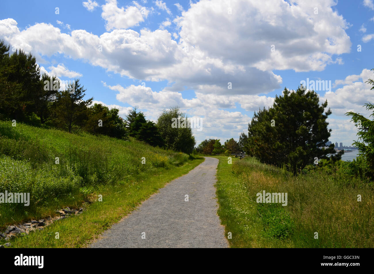 Lush grass and beautiful skies bordering a beautiful hiking trail on Boston Harbor Island. - Stock Image