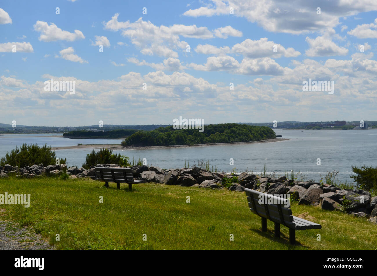 Amazing views from Spectacle island located in Boston Harbor. - Stock Image