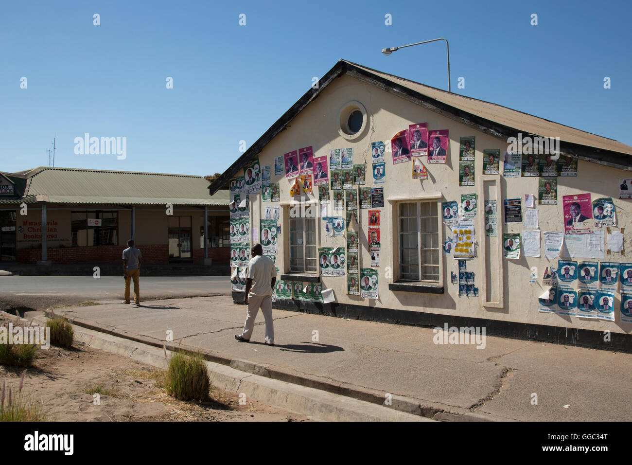 Zambia, Africa general election August 2016 street posters - Stock Image