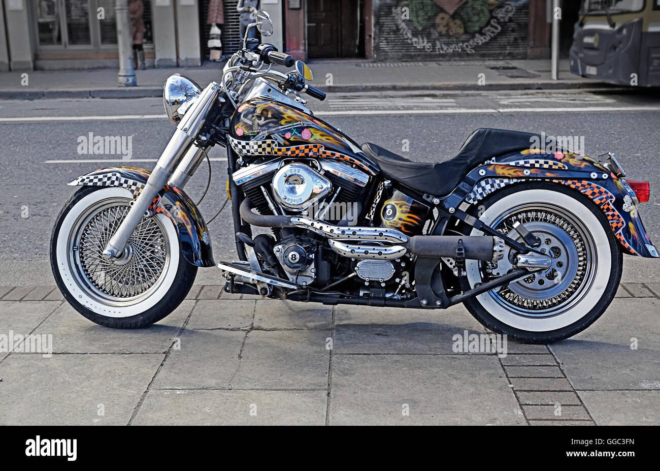 A highly customized Harley Davidson Motorcycle parked on a Dublin street, - Stock Image