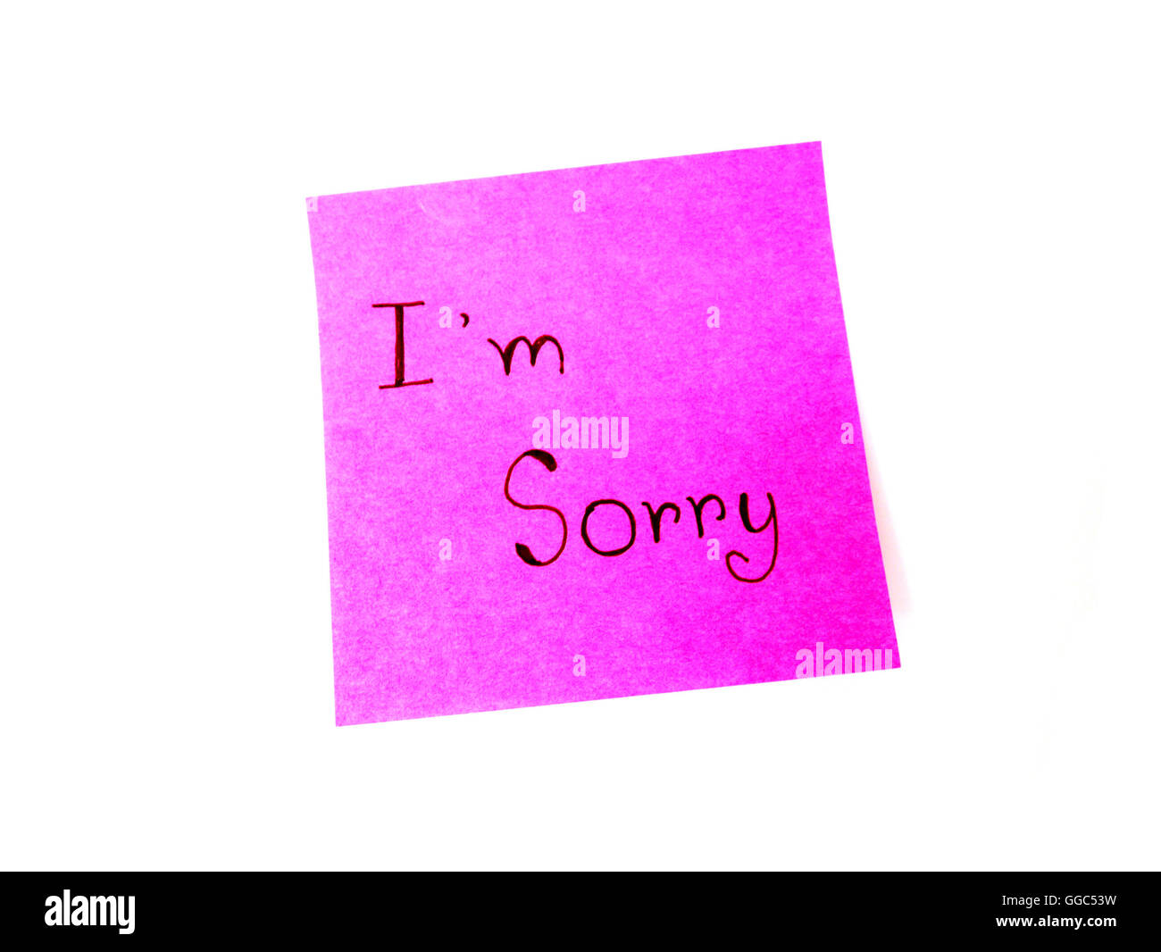 I'm sorry in post it note on white background - Stock Image