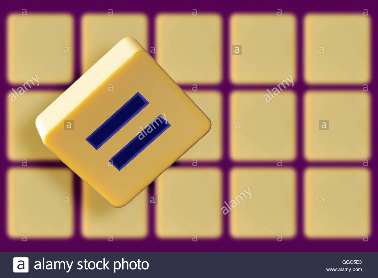 Equals sign on an alphabet tile dorset england britain uk stock