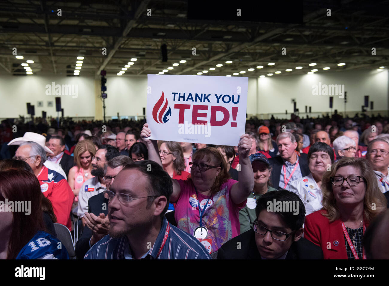 U.S. Senator Ted Cruz of Texas gets applause from the adoring crowd during his speech at Republican Party of Texas - Stock Image