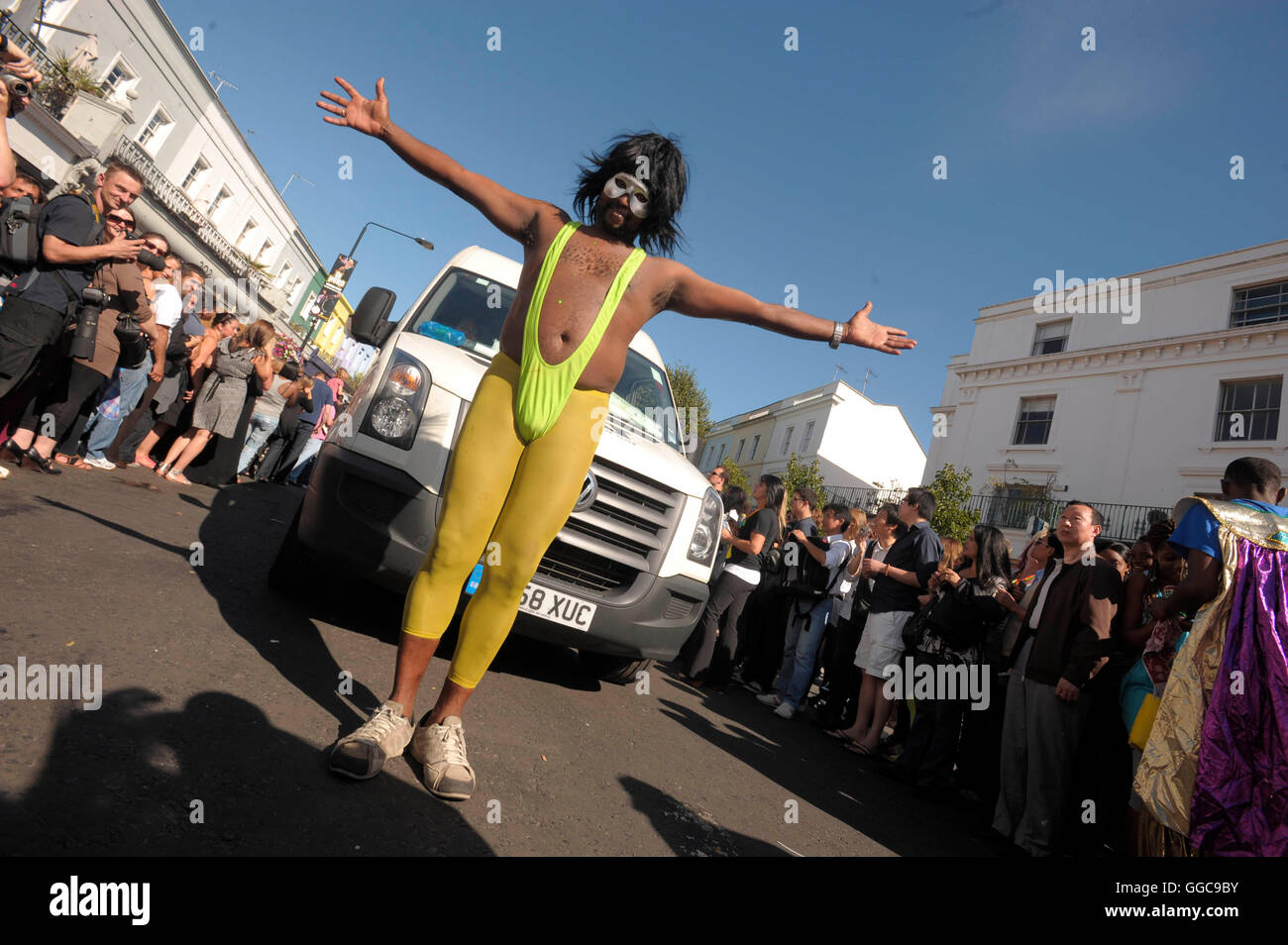 man in mankini Atmosphere and crowds at the 2009 Notting Hill Carnival, 31st August 2011. - Stock Image