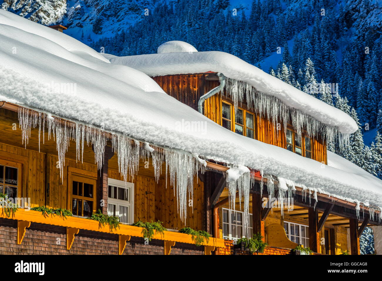 geography / travel, Germany, Bavarian, Stillach Valley near Oberstdorf, former farm, used for holiday flats, exterior - Stock Image