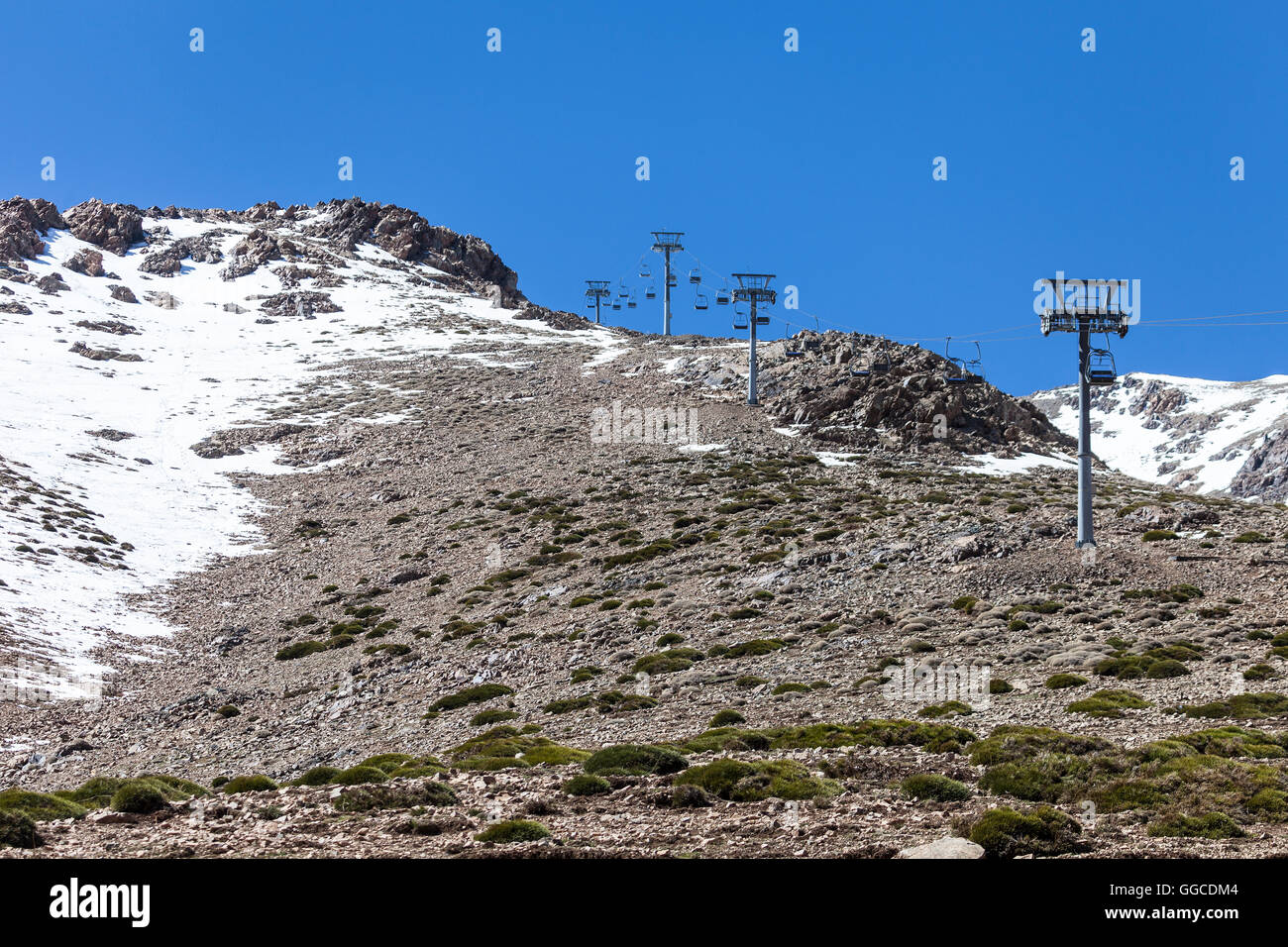 the ski lift at oukaimeden, in the high atlas mountains of morocco