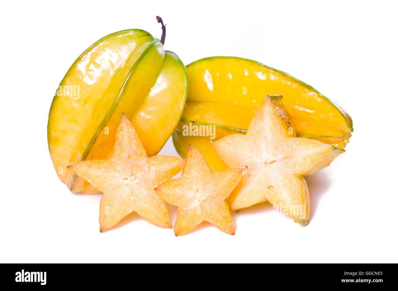 Star apple fruit (Also called as Carambola, starfruit, Averrhoa carambola, Bilimbi, Arkin in Florida, Dah Pon, Ma - Stock Image