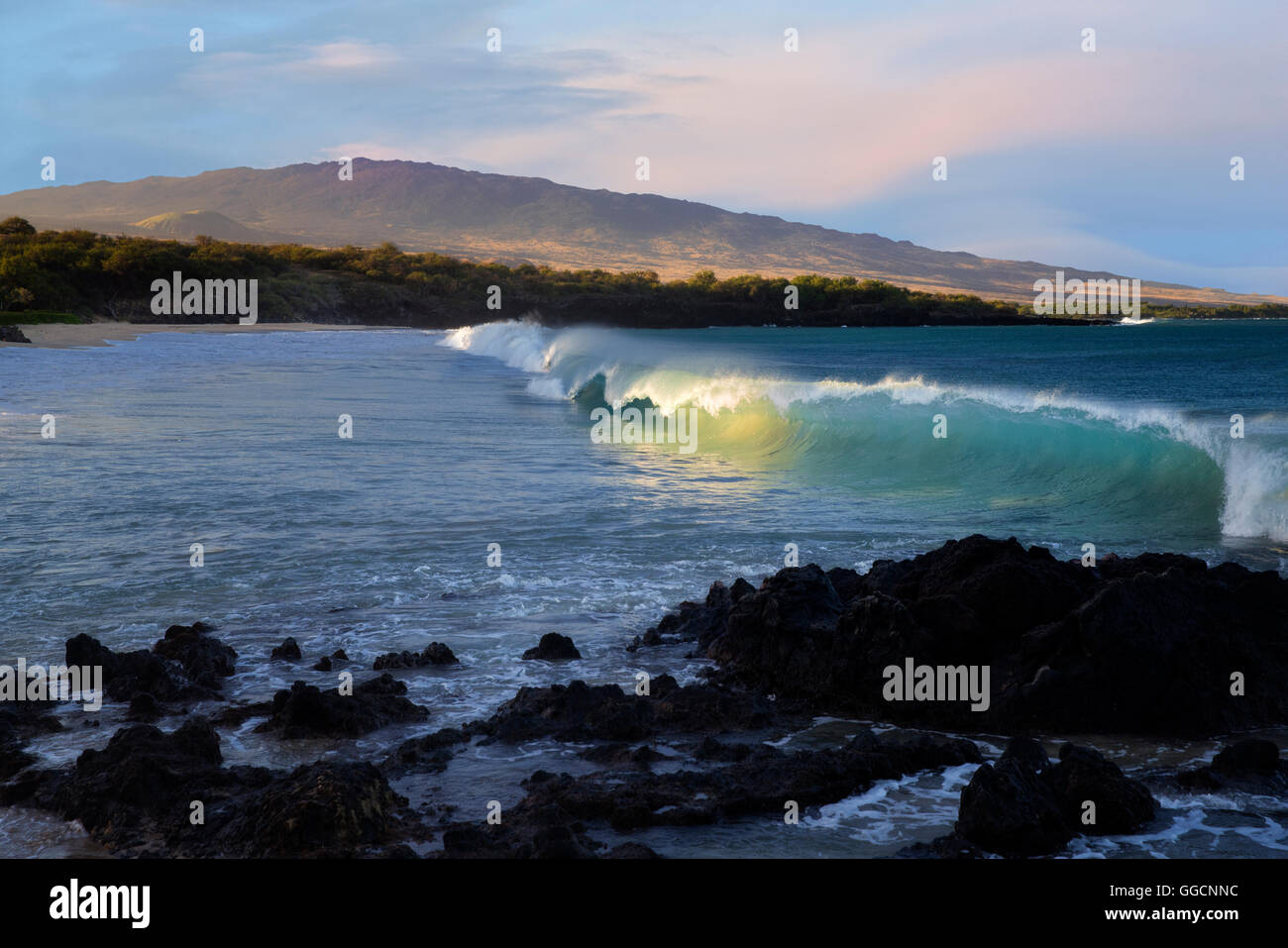 Waves And Sunrise On Hapuna Beach With Hualalai Volcano In Background Hawaii Island