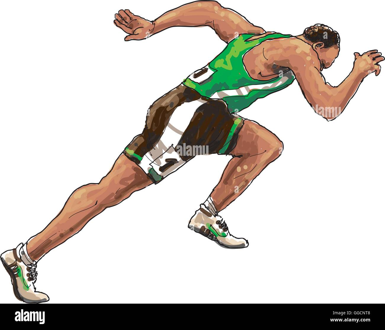 running athlete with green shirt - Stock Vector