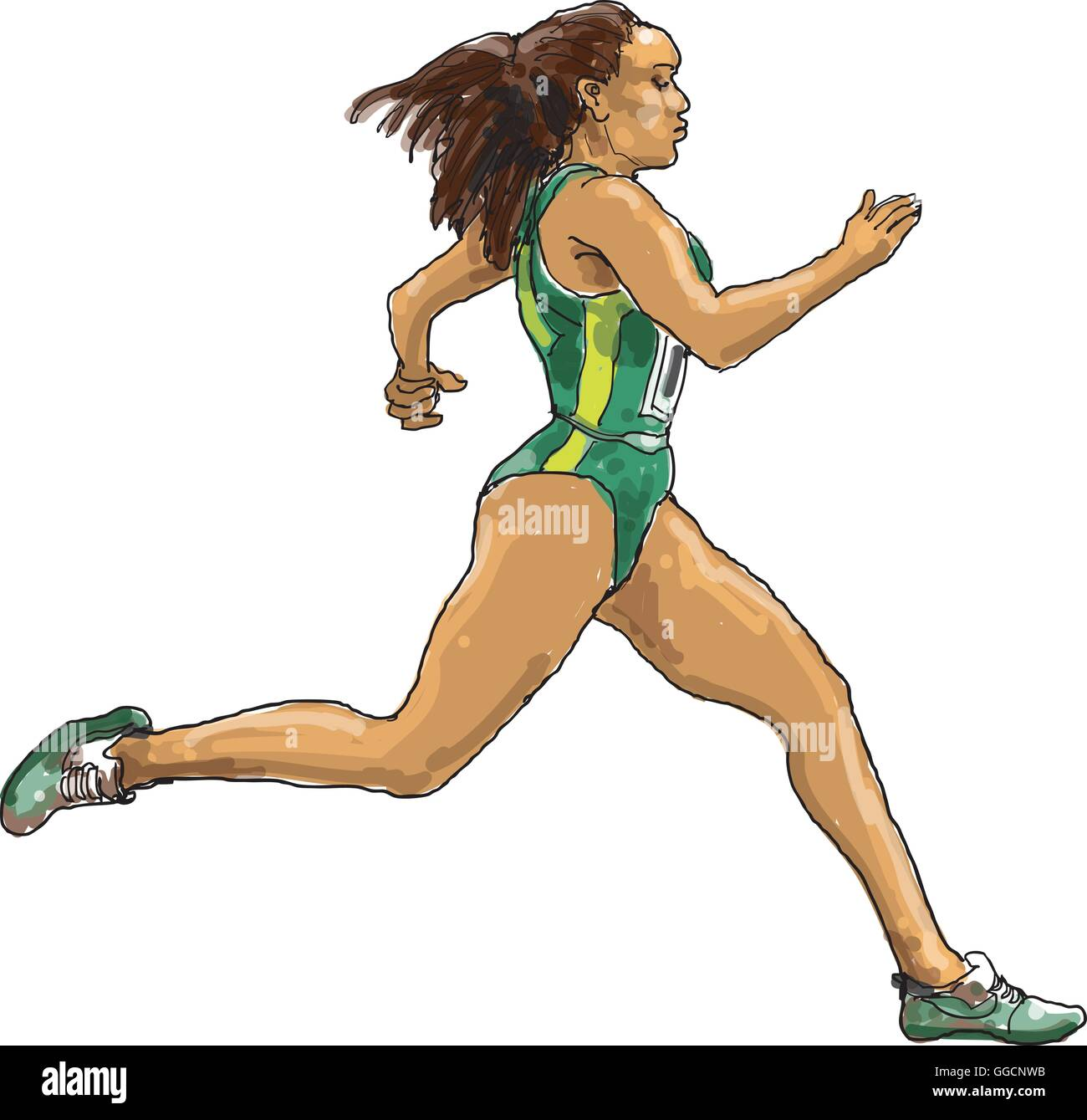 Running female athlete with green/ yellow clothes - Stock Vector