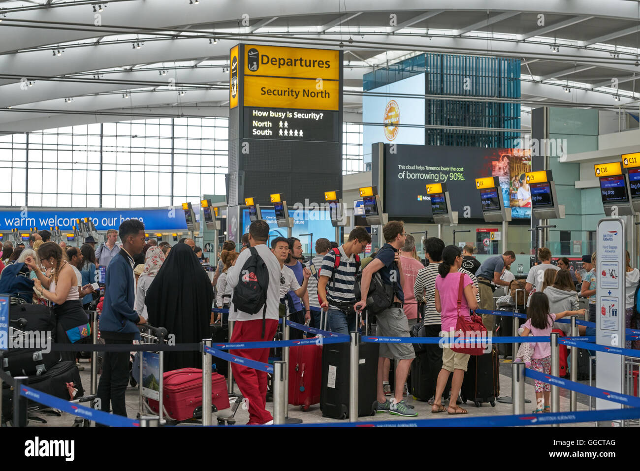 heathrow airport check in, departures terminal 5 - Stock Image