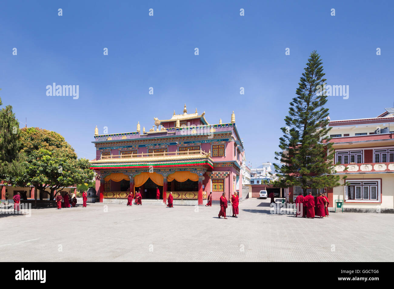 Pal Dilyak monastery near Boudhanath, Kathmandu, Nepal - Stock Image