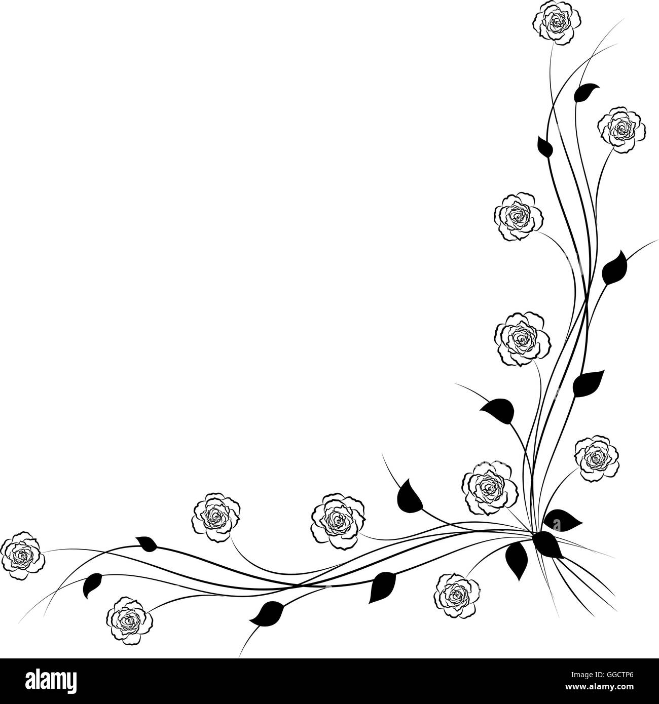 Six Black Flower Design Stock Images: Simple Floral Background In Black And White Stock Vector