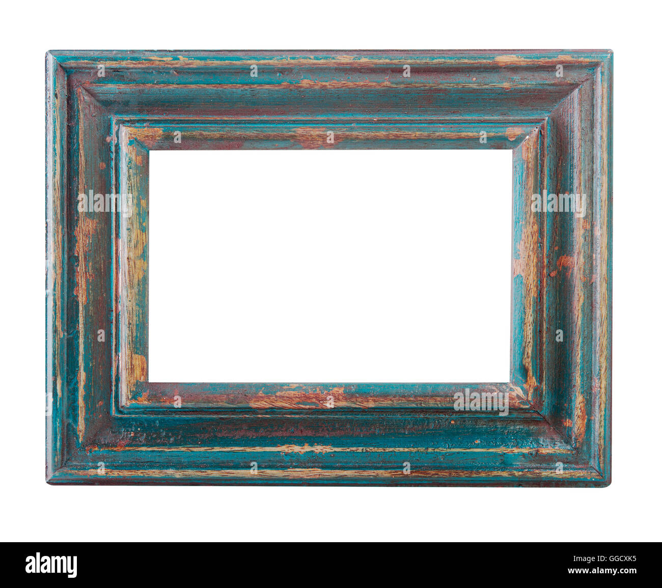 empty old wood painted frame isolated on a white background Stock ...