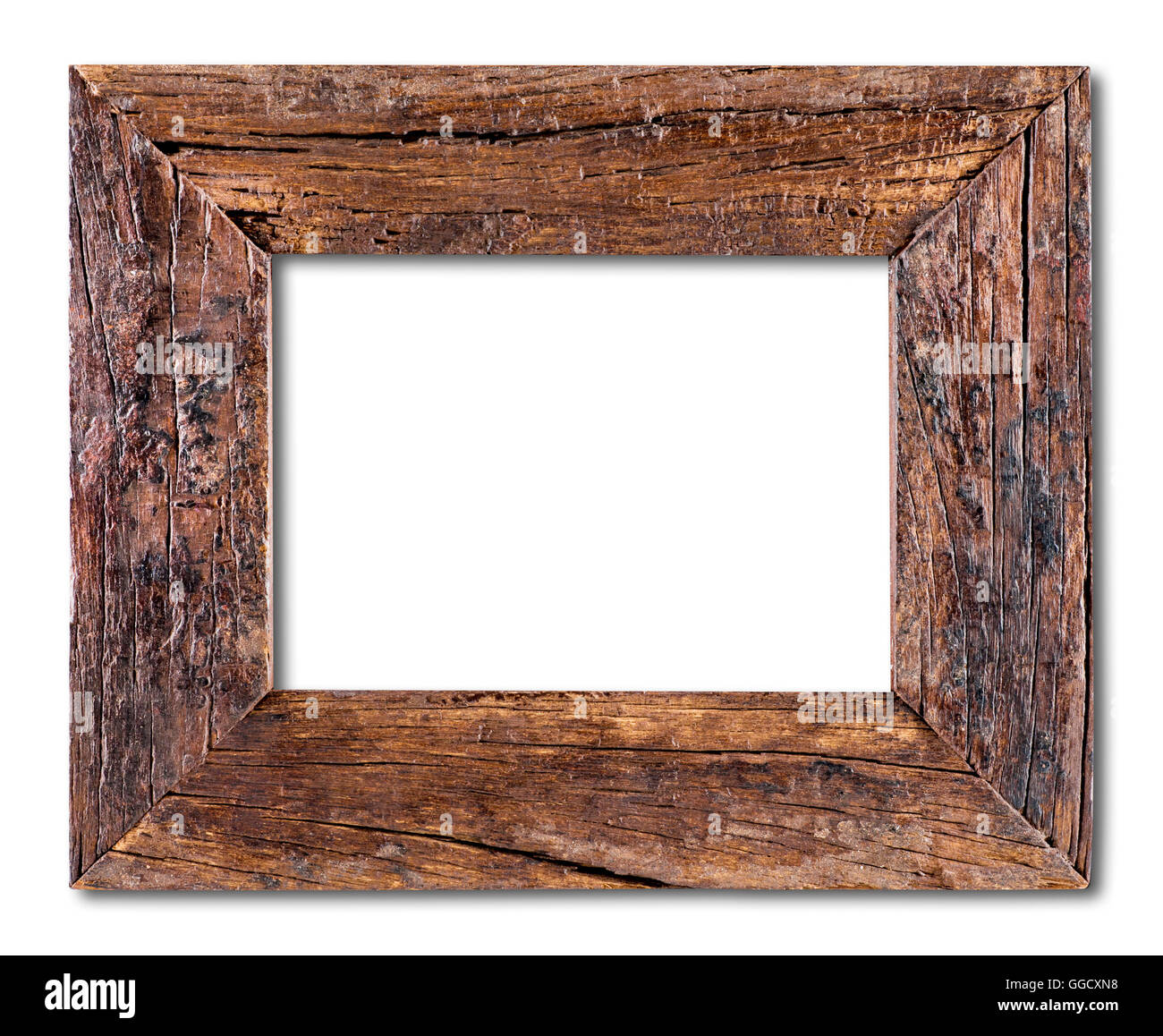 Old Wooden Frame isolated on a white background Stock Photo ...