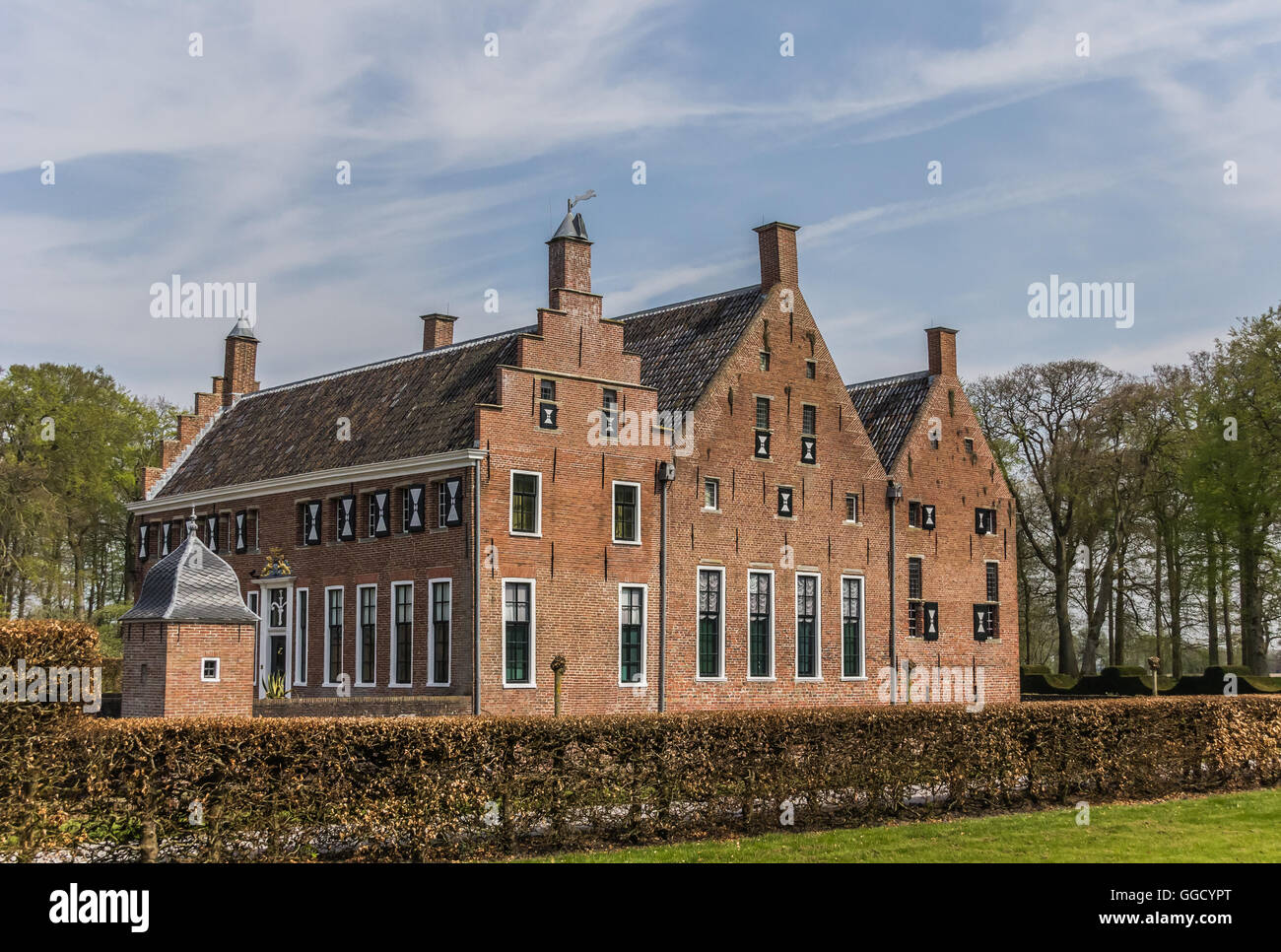 View from the garden of the old dutch mansion Menkemaborg Stock ...