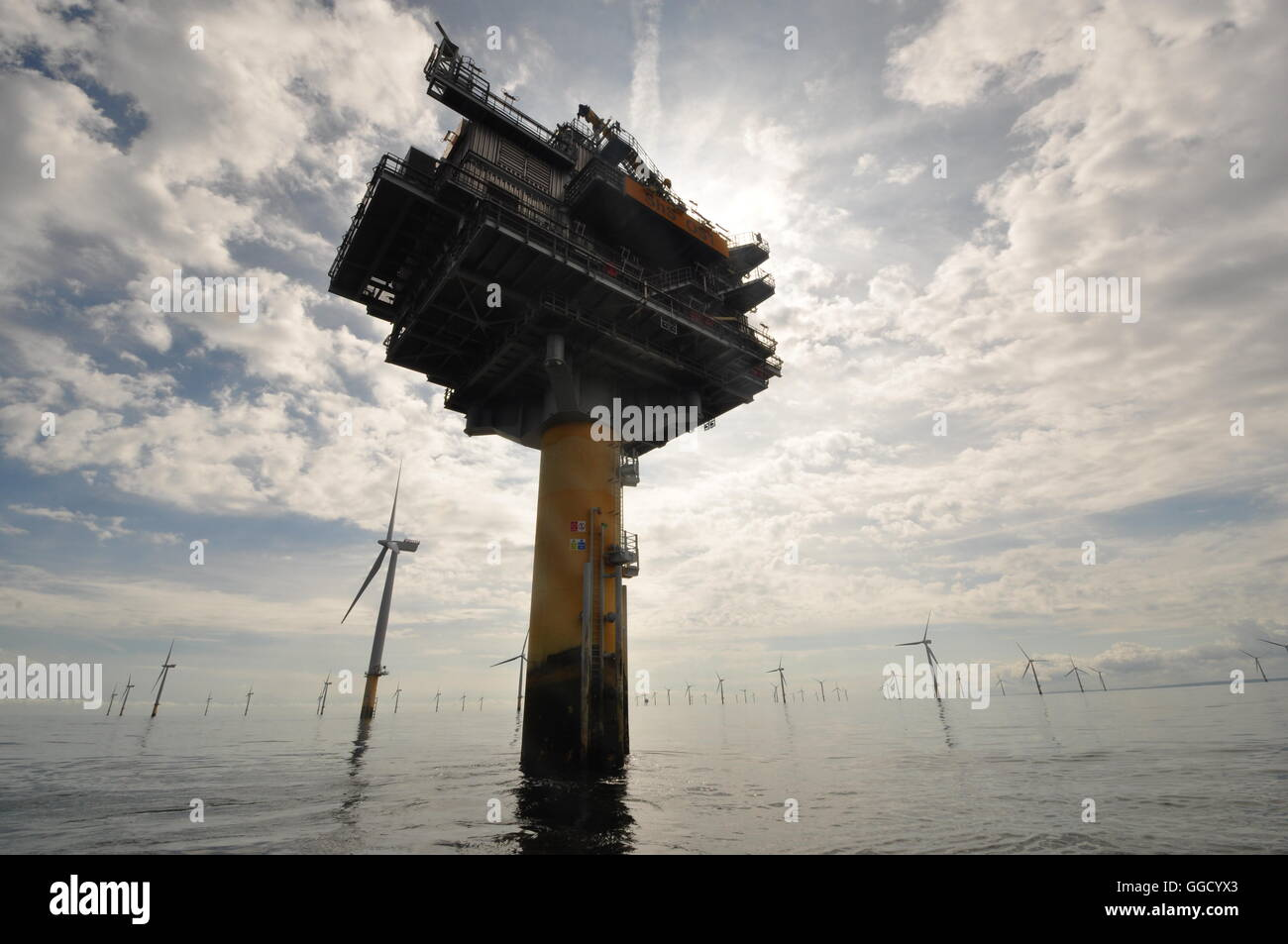 one of two substations at the Sheringham Shoal off-shore wind farm off the north Norfolk coast. UK - Stock Image