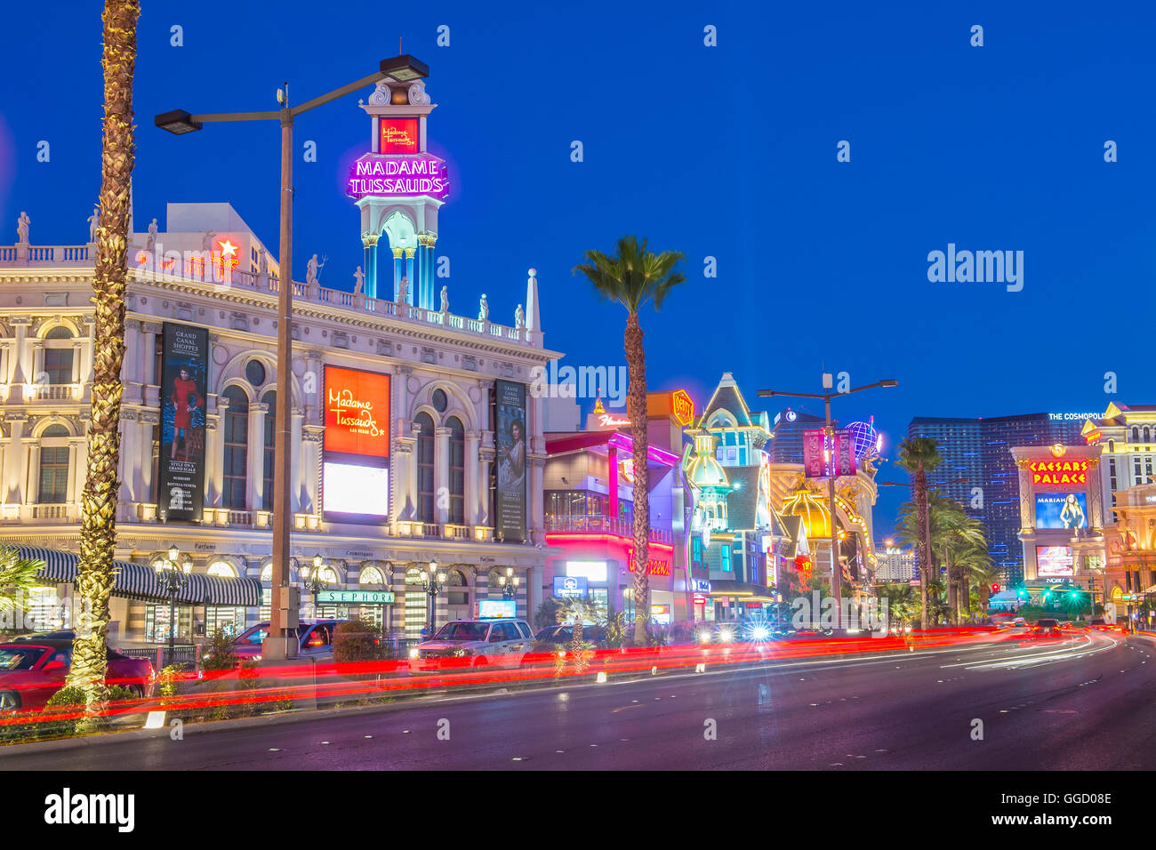 View of the strip in Las Vegas - Stock Image