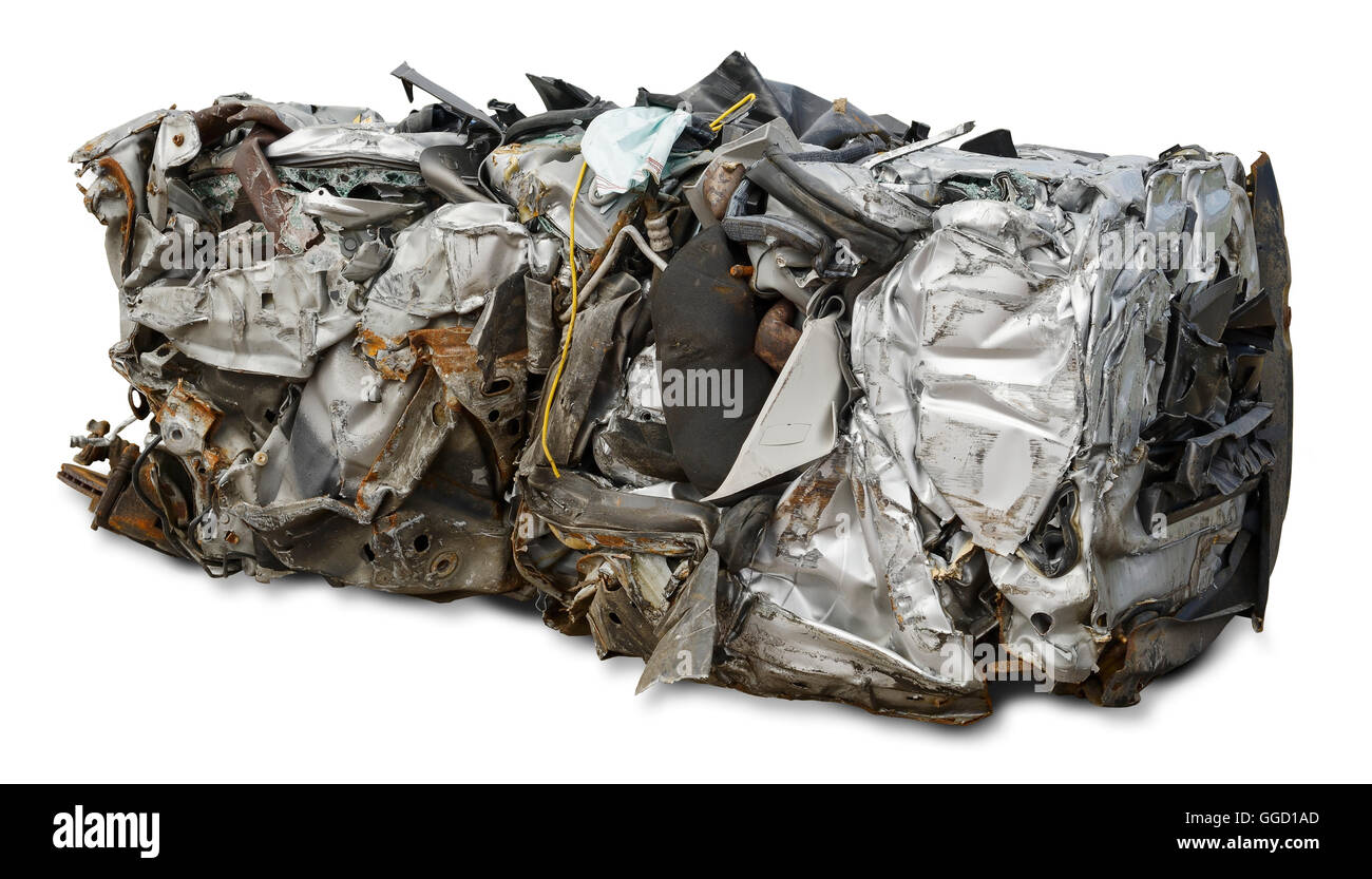 A rectangle of metal formed from a car that has been put through a car crusher. - Stock Image