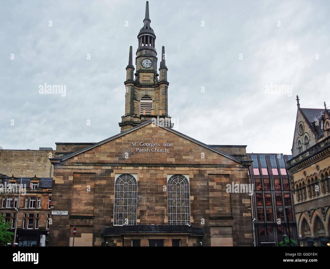 St George Tron Church in the Old City of Glasgow. Glasgow is the city in the Lowlands in Scotland in the United - Stock Image