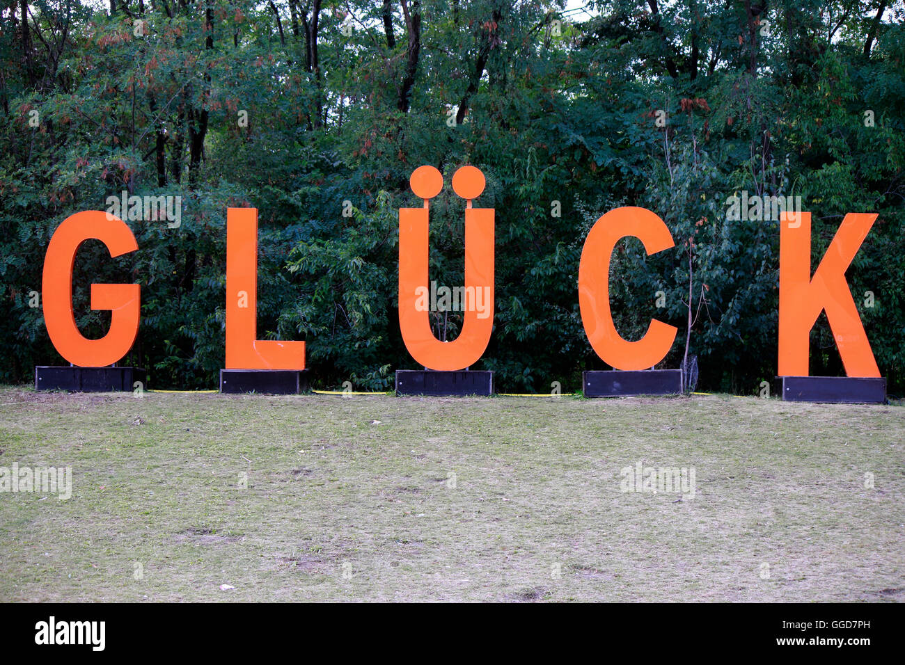 """Glueck"" - ""Radio Eins Parkfest"", Park am Gleisdreieck, 6. September 2015, Berlin. Stock Photo"