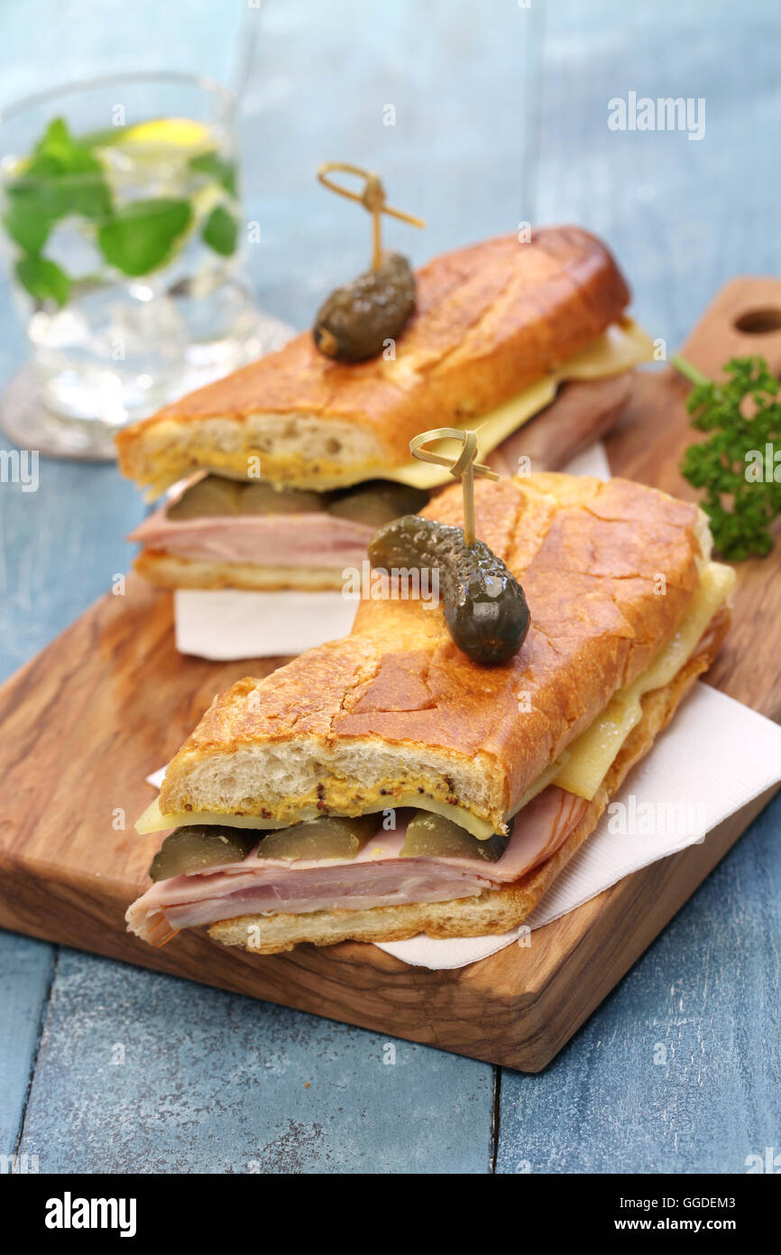 cuban sandwich, cuban mix, ham and cheese pressed sandwich - Stock Image