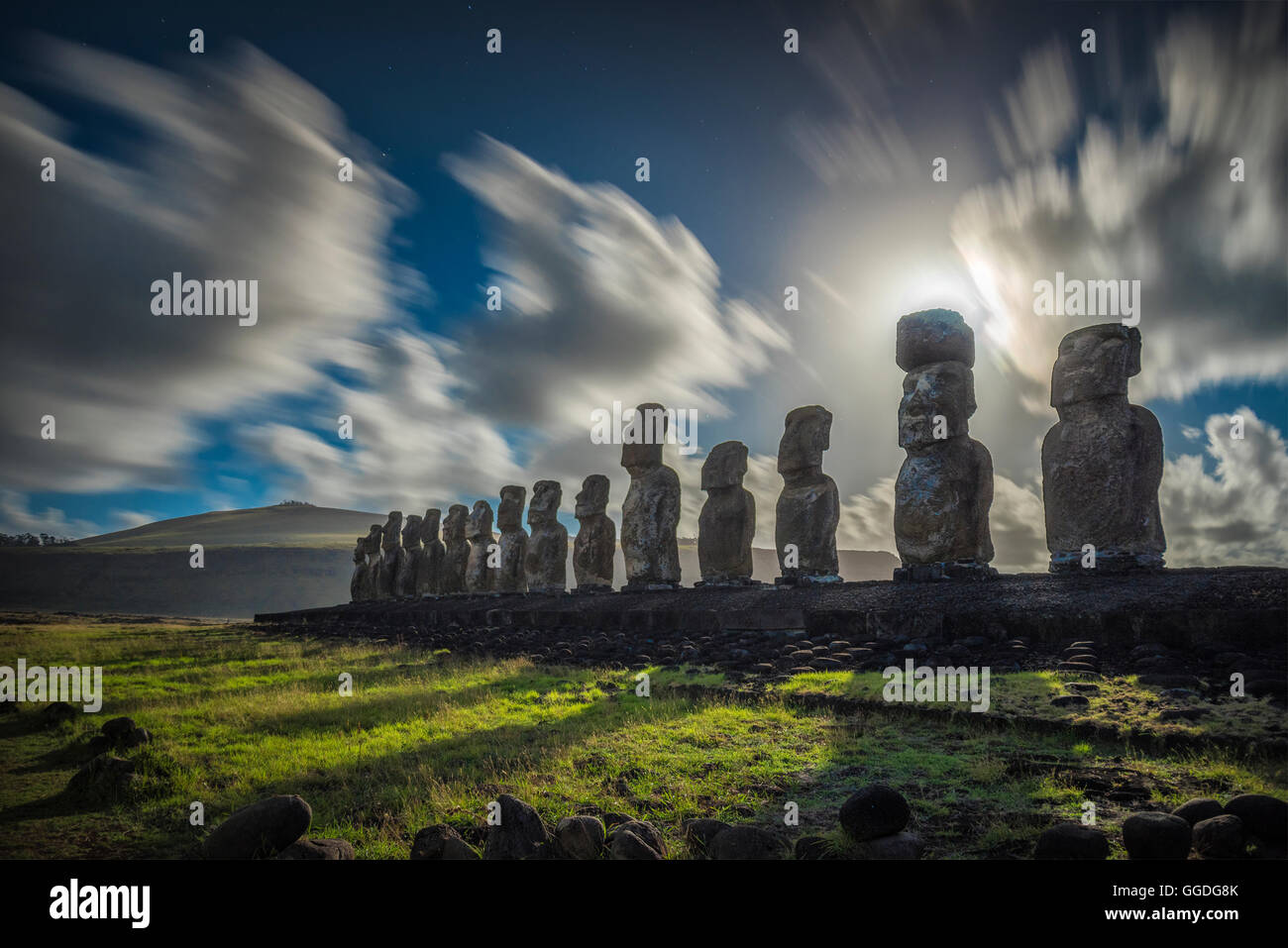 South America; Chile; Easter Island; Rapa Nui;  south pacific; UNESCO, World Heritage - Stock Image