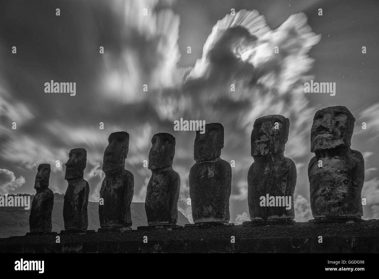 South America; Chile; Easter Island; Isla de Pasqua, south pacific; UNESCO, World Heritage - Stock Image