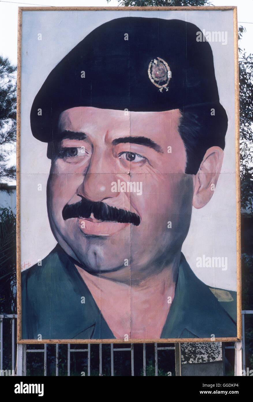 Saddam Hussein portrait Baghdad Iraq  wearing military  uniform 1984 HOMER SYKES - Stock Image