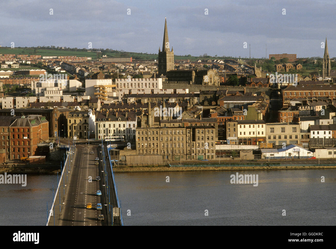 Derry Londonderry 1980s River Foyle Northern Ireland HOMER SYKES - Stock Image